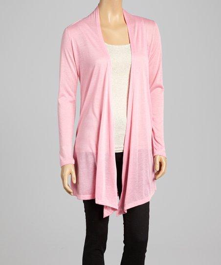 Pink Classic Open Cardigan - Women