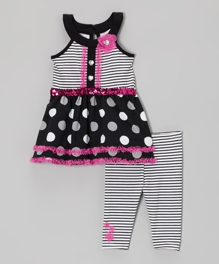 Black Sequin Yoke Top & Stripe Leggings - Infant, Toddler & Girls