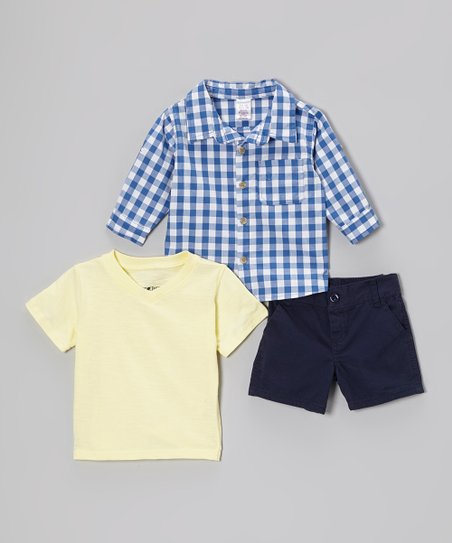 Blue Gingham Button-Up Set - Toddler & Boys
