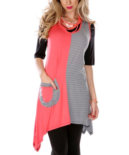 Coral & Black Color Block Sidetail Sleeveless Tunic