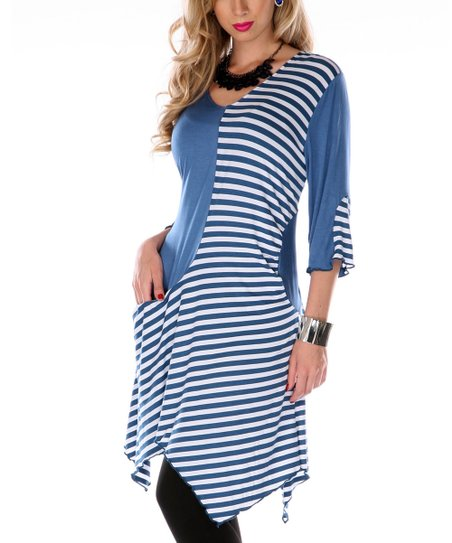 Blue & White Stripe Color Block Tunic