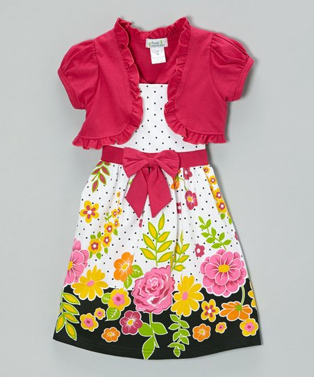 Fuchsia Floral Polka Dot Dress & Shrug - Infant, Toddler & Girls
