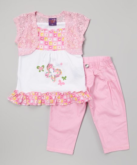 Pink Floral Butterfly Tunic & Pants - Infant, Toddler & Girls