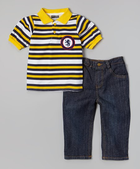 Yellow Stripe Polo & Dark Wash Jeans - Infant, Toddler & Boys