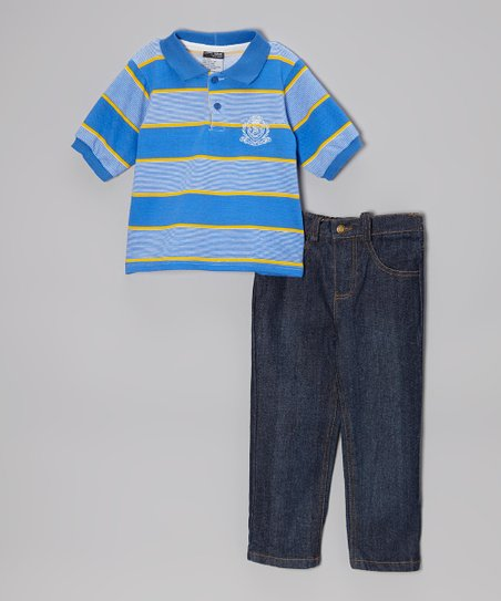 Blue Stripe Polo & Dark Wash Jeans - Infant, Toddler & Boys