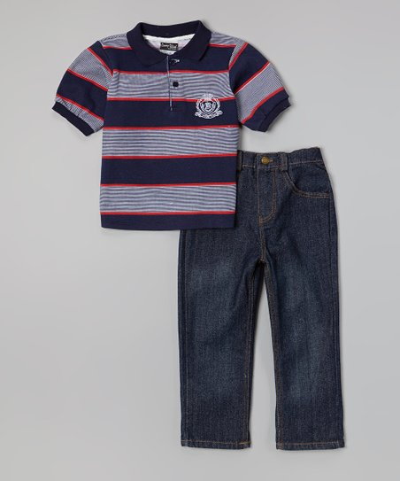 Navy Stripe Polo & Dark Wash Jeans - Infant, Toddler & Boys