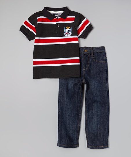 Black & Red Polo & Dark Wash Jeans - Infant, Toddler & Boys