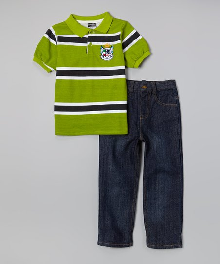 Green & Navy Polo & Dark Wash Jeans - Infant, Toddler & Boys