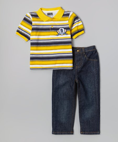 Yellow & Navy Polo & Dark Wash Jeans - Infant, Toddler & Boys