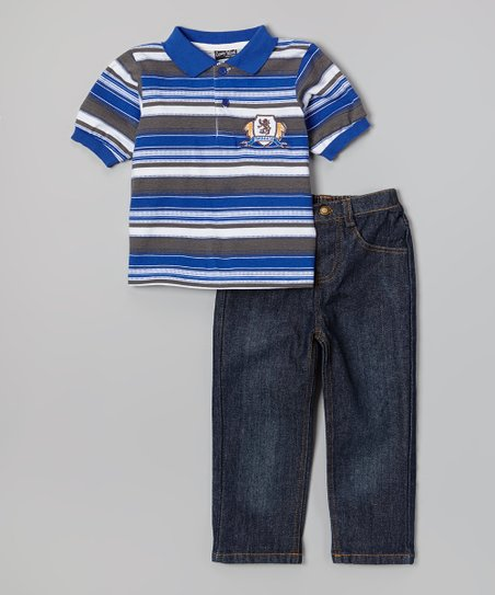Blue & Gray Polo & Dark Wash Jeans - Infant, Toddler & Boys