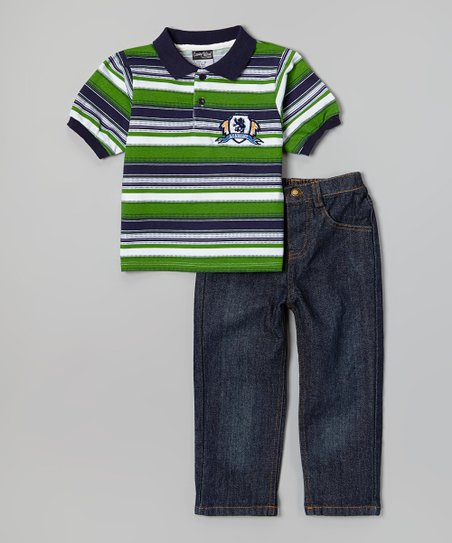 Green & Blue Polo & Dark Wash Jeans - Infant, Toddler & Boys