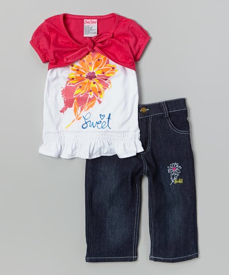 Pink Flower Layered Top & Capri Pants - Toddler & Girls