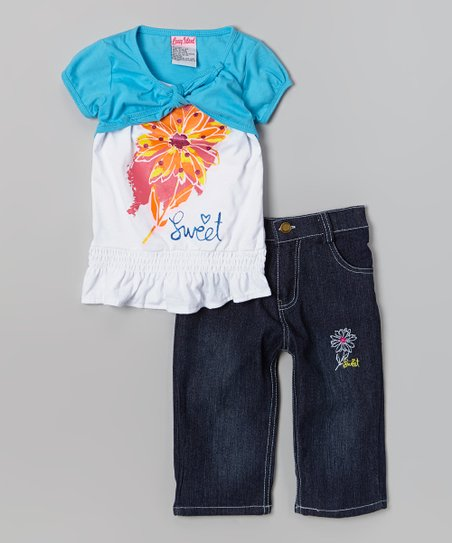Blue Flower Layered Top & Capri Pants - Toddler & Girls