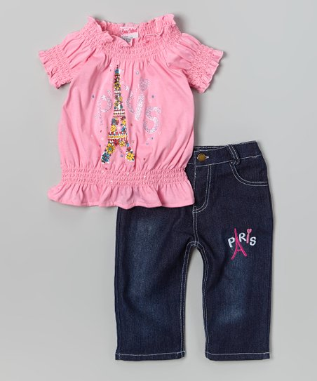 Light Pink 'Paris' Top & Capri Pants - Infant, Toddler & Girls