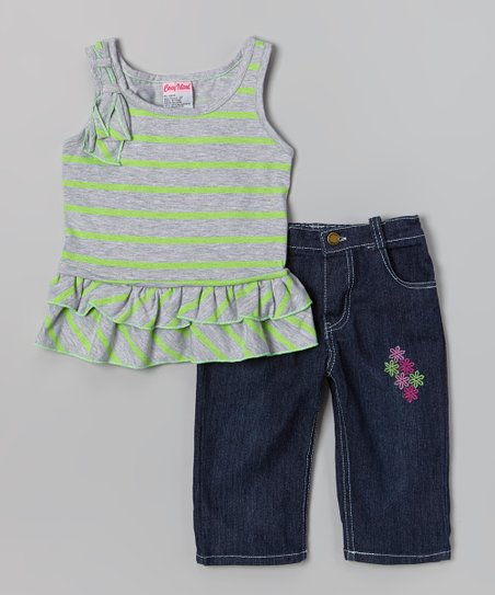 Green Stripe Ruffle Tank & Capri Pants - Toddler & Girls