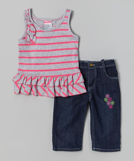 Pink Stripe Ruffle Tank & Capri Pants - Toddler & Girls