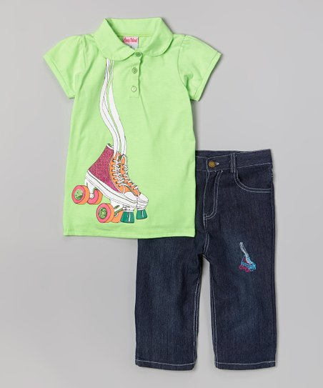 Green Roller Skate Polo & Capri Pants - Infant, Toddler & Girls