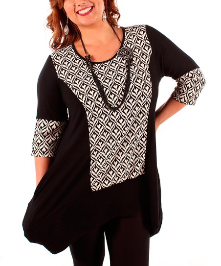 Black & White Abstract Panel Tunic - Plus