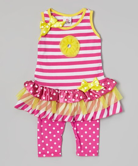 Pink Stripe Tunic & Polka Dot Leggings - Infant