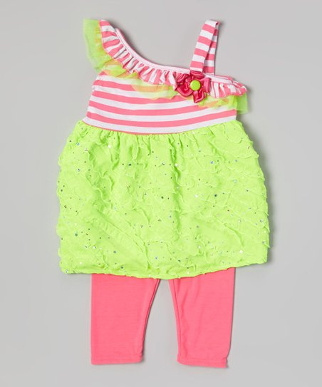 Green Ruffle Tunic & Pink Leggings - Toddler & Girls