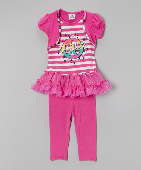 Pink Stripe 'Peace' Tunic & Leggings - Infant, Toddler & Girls