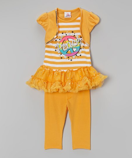 Orange Stripe 'Peace' Tunic & Leggings - Infant, Toddler & Girls
