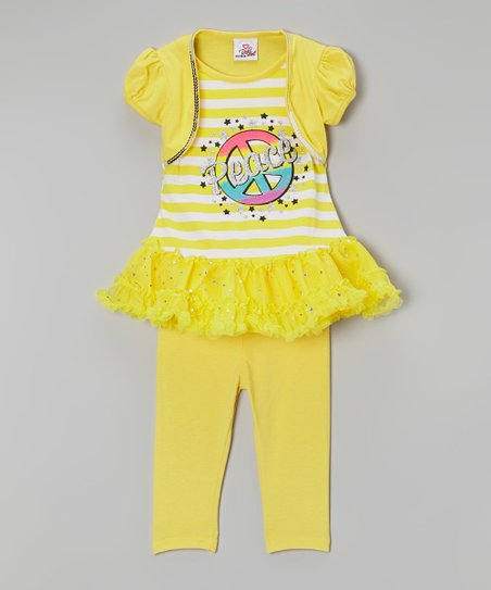 Yellow Stripe 'Peace' Tunic & Leggings - Infant, Toddler & Girls