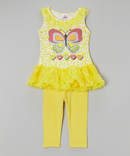 Yellow Butterfly Tutu Tunic & Leggings - Infant, Toddler & Girls