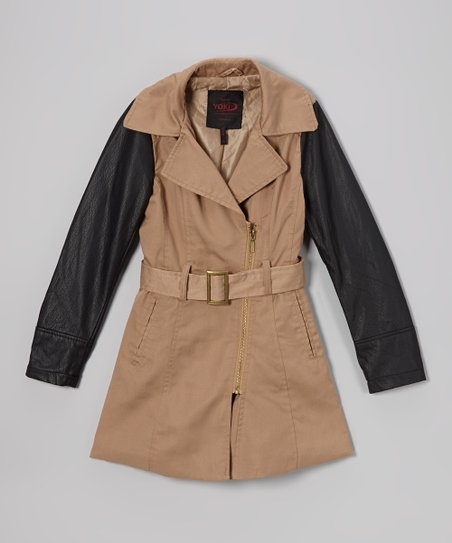Camel Contrast Sleeve Twill Trench Coat - Girls