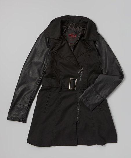 Black Contrast Sleeve Twill Trench Coat - Girls