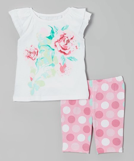 White & Pink Rose Tee & Polka Dot Shorts - Infant & Toddler