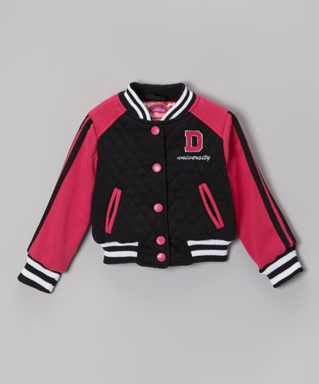Black Varsity Button-Up Jacket - Infant, Toddler & Girls