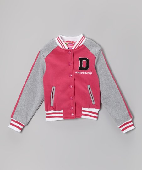 Magenta Varsity Button-Up Jacket - Infant, Toddler & Girls