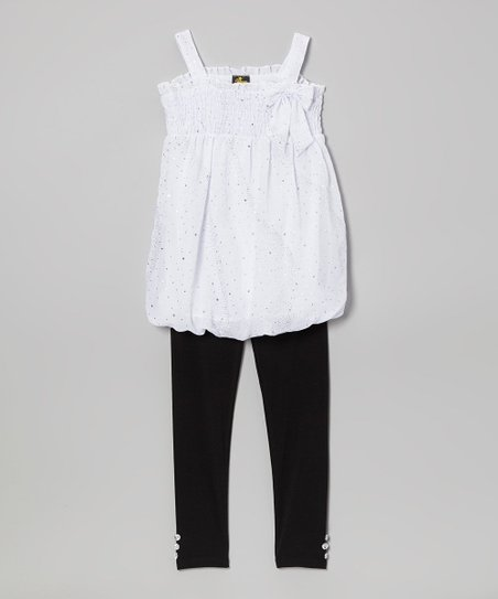 White Metallic Bow Tunic & Leggings - Infant, Toddler & Girls