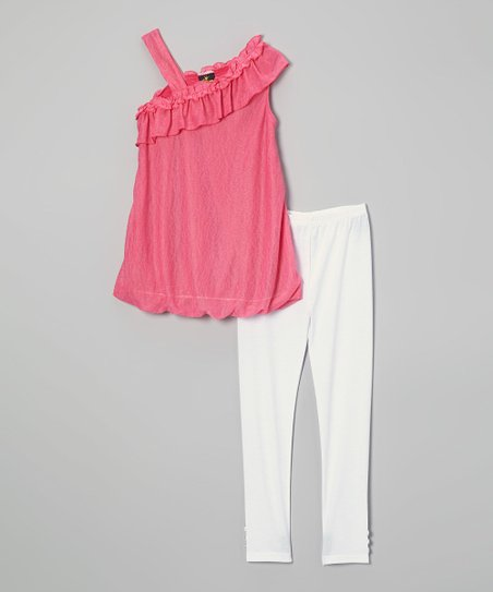 Fuchsia Ruffle Bubble Tunic & Leggings - Infant, Toddler & Girls