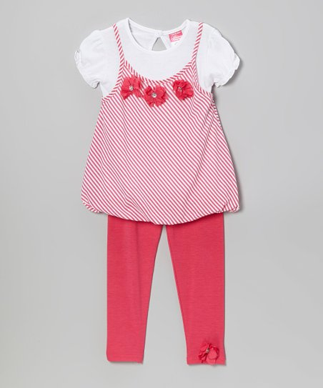 Fuchsia Stripe Layer Tunic & Leggings - Infant, Toddler & Girls