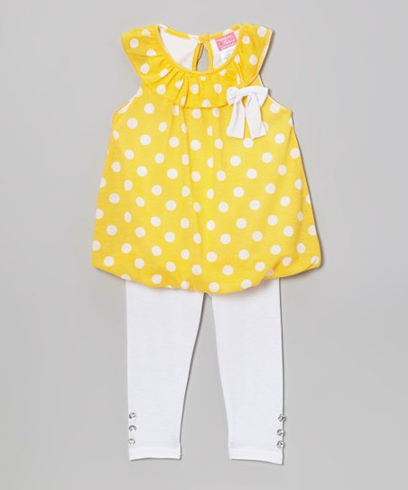 Yellow Polka Dot Yoke Tunic & Leggings - Infant, Toddler & Girls