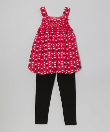 Fuchsia Heart Bubble Tunic & Leggings - Toddler & Girls