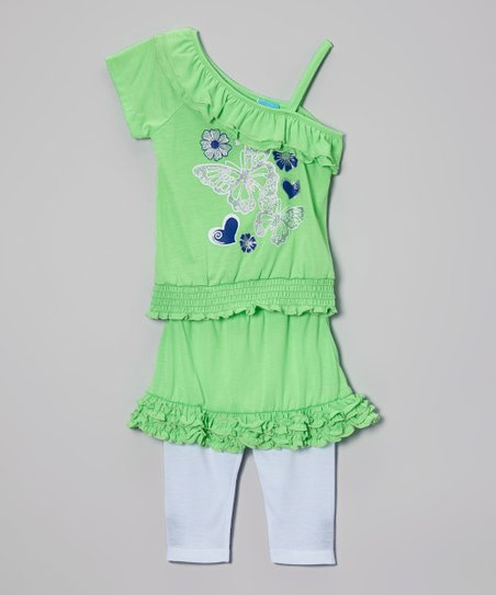 Lime Butterfly Top & Skirted Leggings - Infant, Toddler & Girls