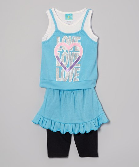 Blue 'Love' Top & Skirted Leggings - Infant, Toddler & Girls