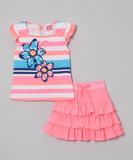 Pink Rhinestone Stripe Top & Skirt - Infant, Toddler & Girls