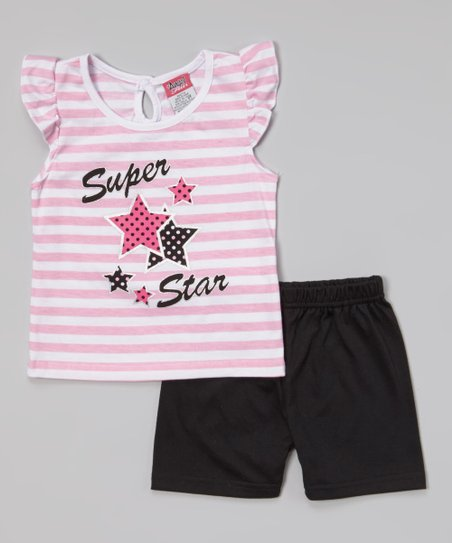 Pink 'Super Star' Top & Black Shorts - Infant, Toddler & Girls