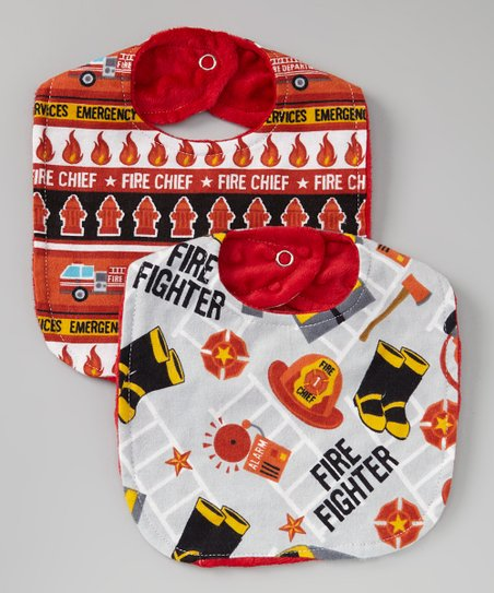 Red & White 'Fire Chief' Bib Set