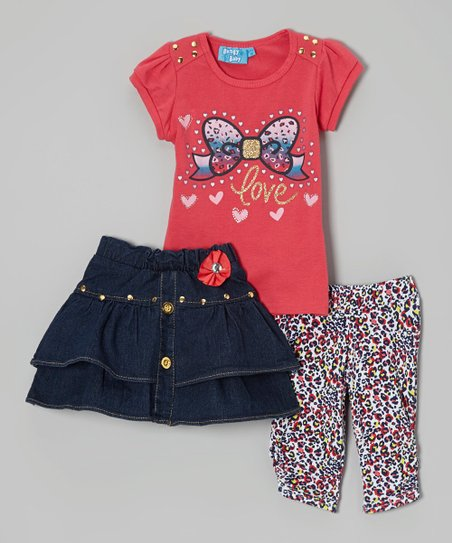 Hot Pink 'Love' Bow Tee Set - Infant