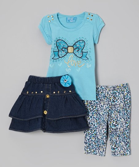 Blue 'Love' Bow Tee Set - Infant