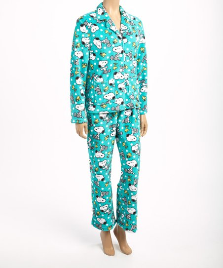 Blue & White Snoopy Pajama Set - Women