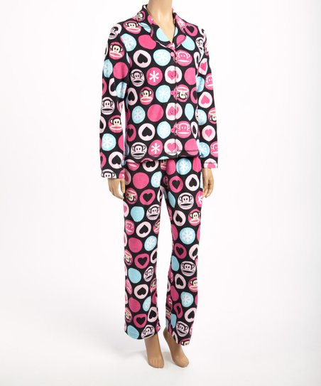 Pink & Black Julius Polka Dot Pajama Set - Women