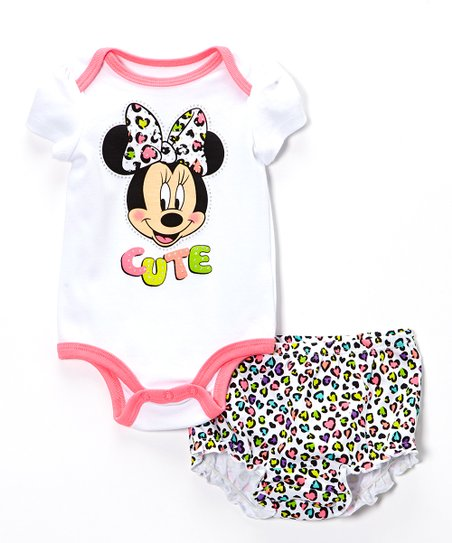 White & Pink Minnie Mouse Bodysuit & Diaper Cover - Infant