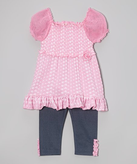 Pink Heart Mesh Tunic & Denim Leggings - Toddler & Girls