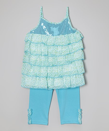 Turquoise Tiered Tunic & Leggings - Infant
